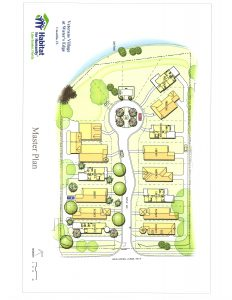Sneak peak of the master plan of theneighborhood.  This is not the final plan, but is a work in progress.  Take note of the Memorial Circle, this is where the flagpole and engraved bricks will be located.  The square nearer to the water is a gazebo and sitting area for the community.