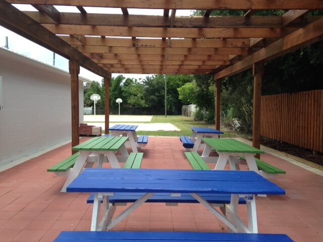 Picnic tables outside yard of the DGV