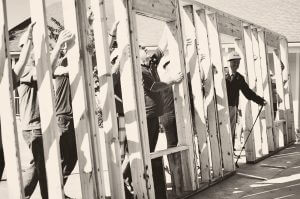 Wall raising at Veterans Village Ground Breaking