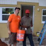 Home Depot volunteer with homeowner