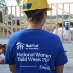 up close picture of the back of the National Women Build 2017 tee shirt