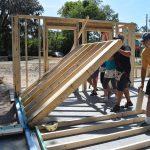 National Women Build Week 2017 volunteers raising wall