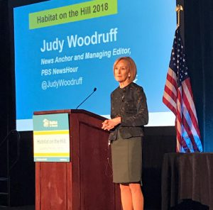 Judy Woodruff speaking at Habitat on the Hill 2018