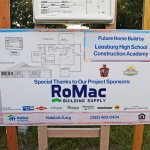 Future home build by Leesburg High School Construction Academy sponsor sign