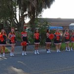 Leesburg High School cheerleaders welcoming guests at ground breaking
