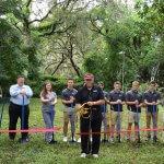 Lady Lake Mayor cutting the ribbon at YCA ground breaking