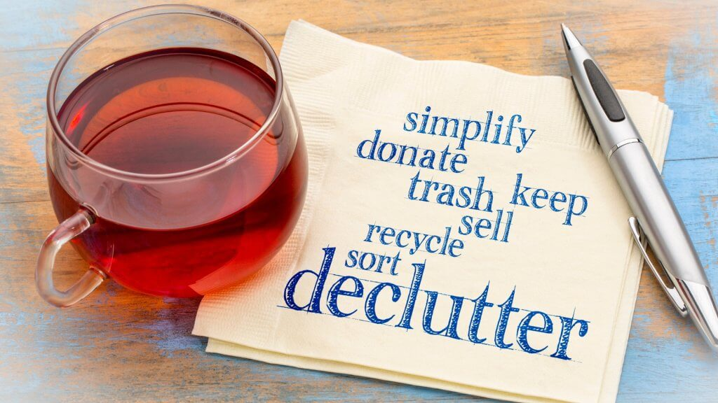 Simplify, donate, keep, trash, sell, recycle, sort, declutter