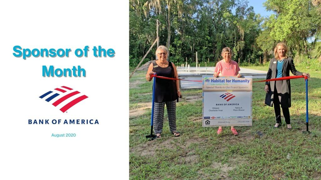 Bank of America Sponsor of the Month in August 2020